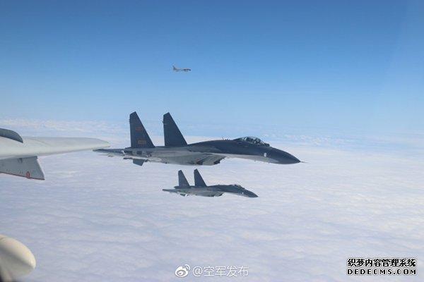 中国空军官方微博发布的巡航照